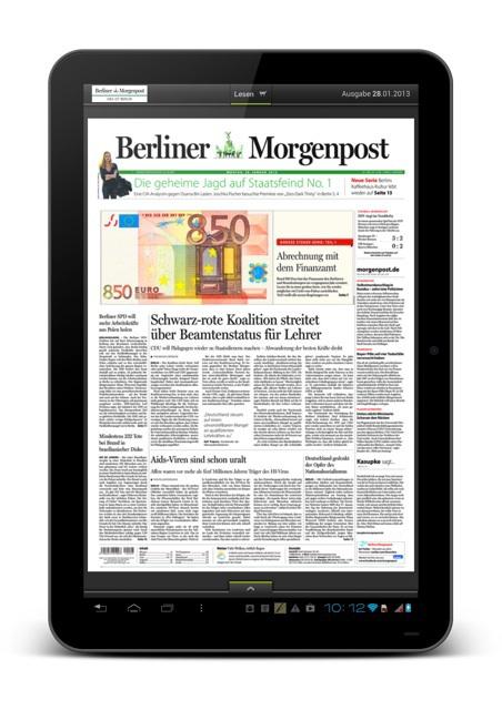 Berliner Morgenpost auf dem Android-Tablet