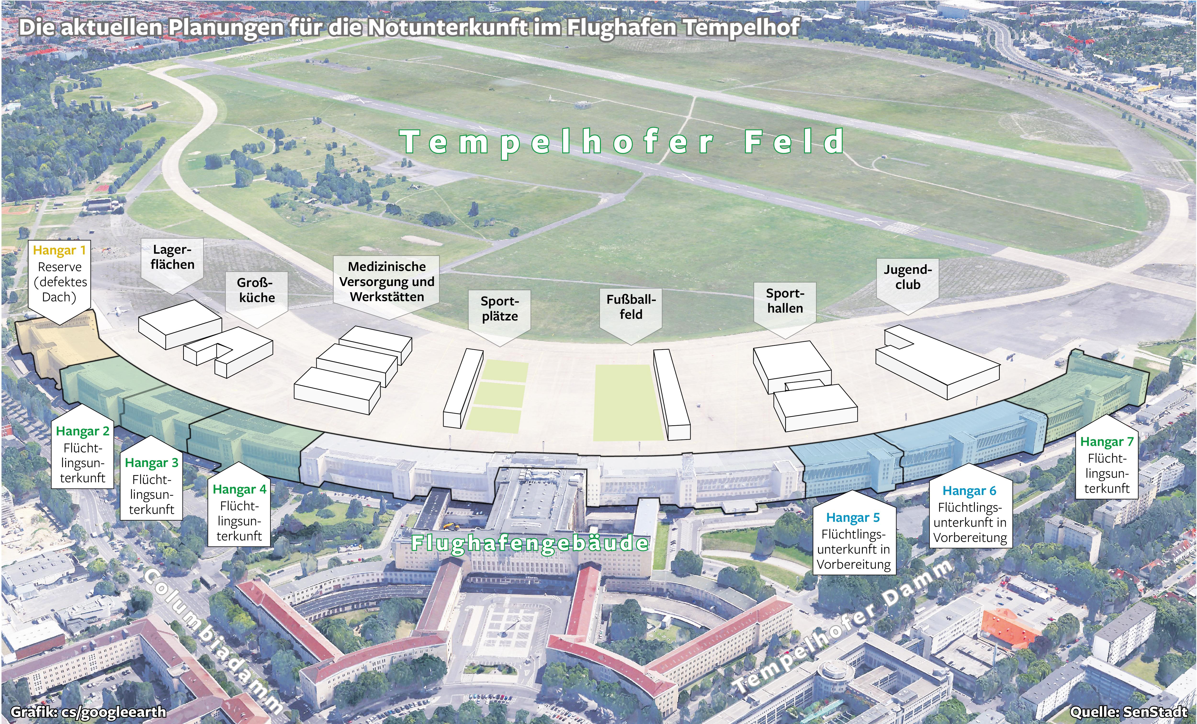 Die Notunterkunft auf dem Tempelhofer Feld