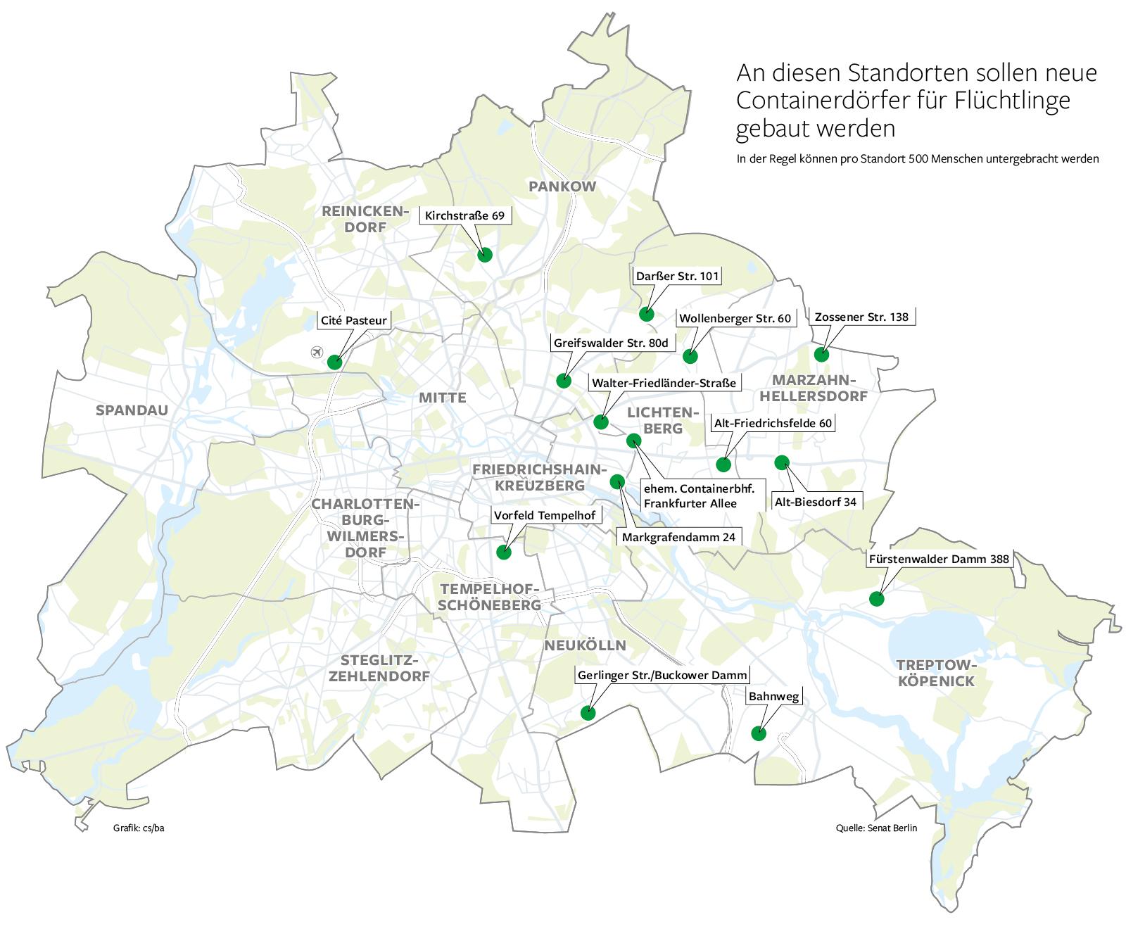 Standorte für Containerdörfer
