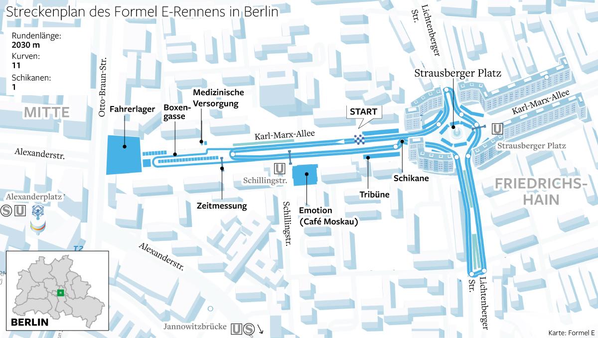 Streckenplan des Forme E-Rennens in Berlin