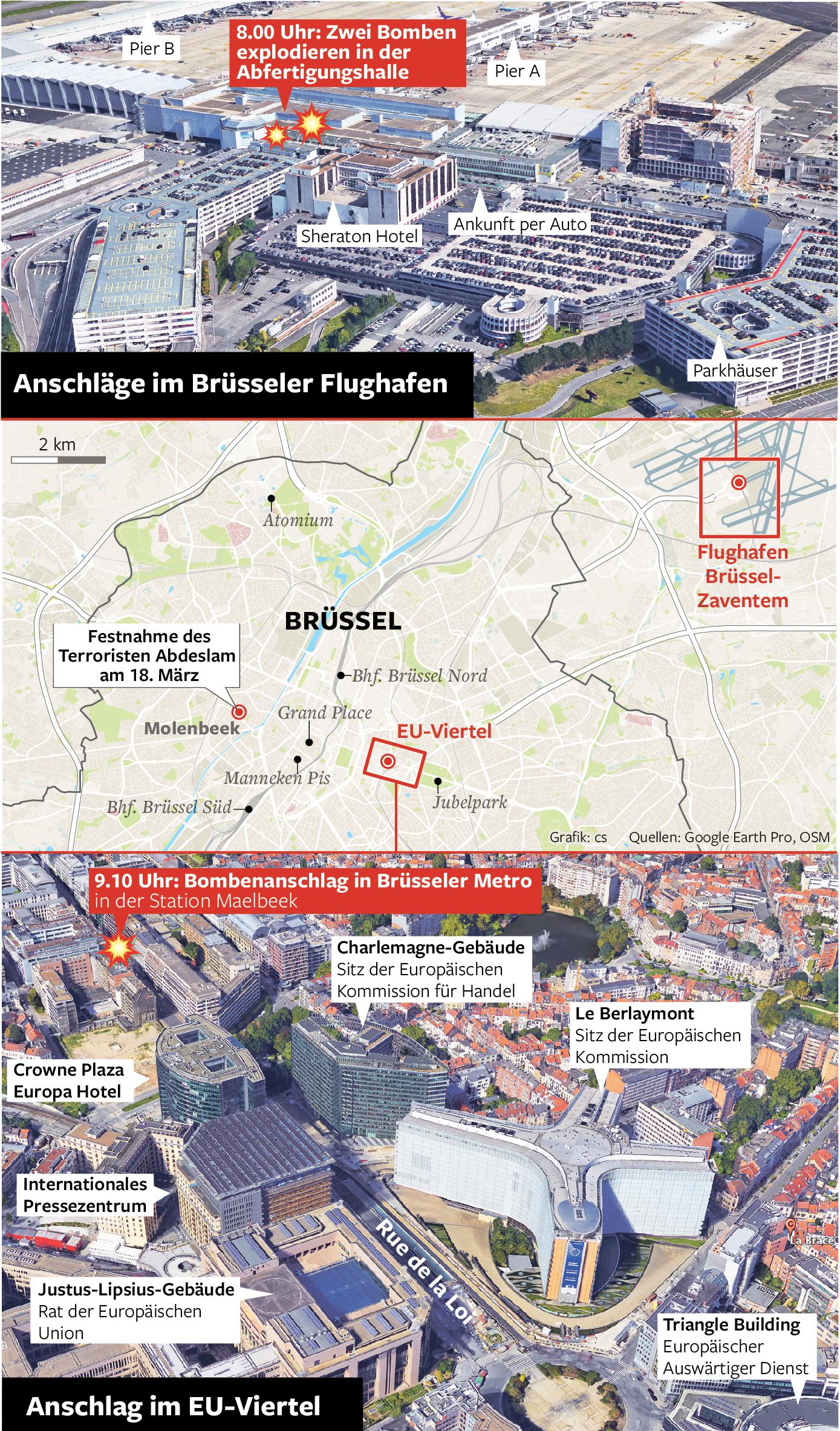 Anschlagsorte Brüssel