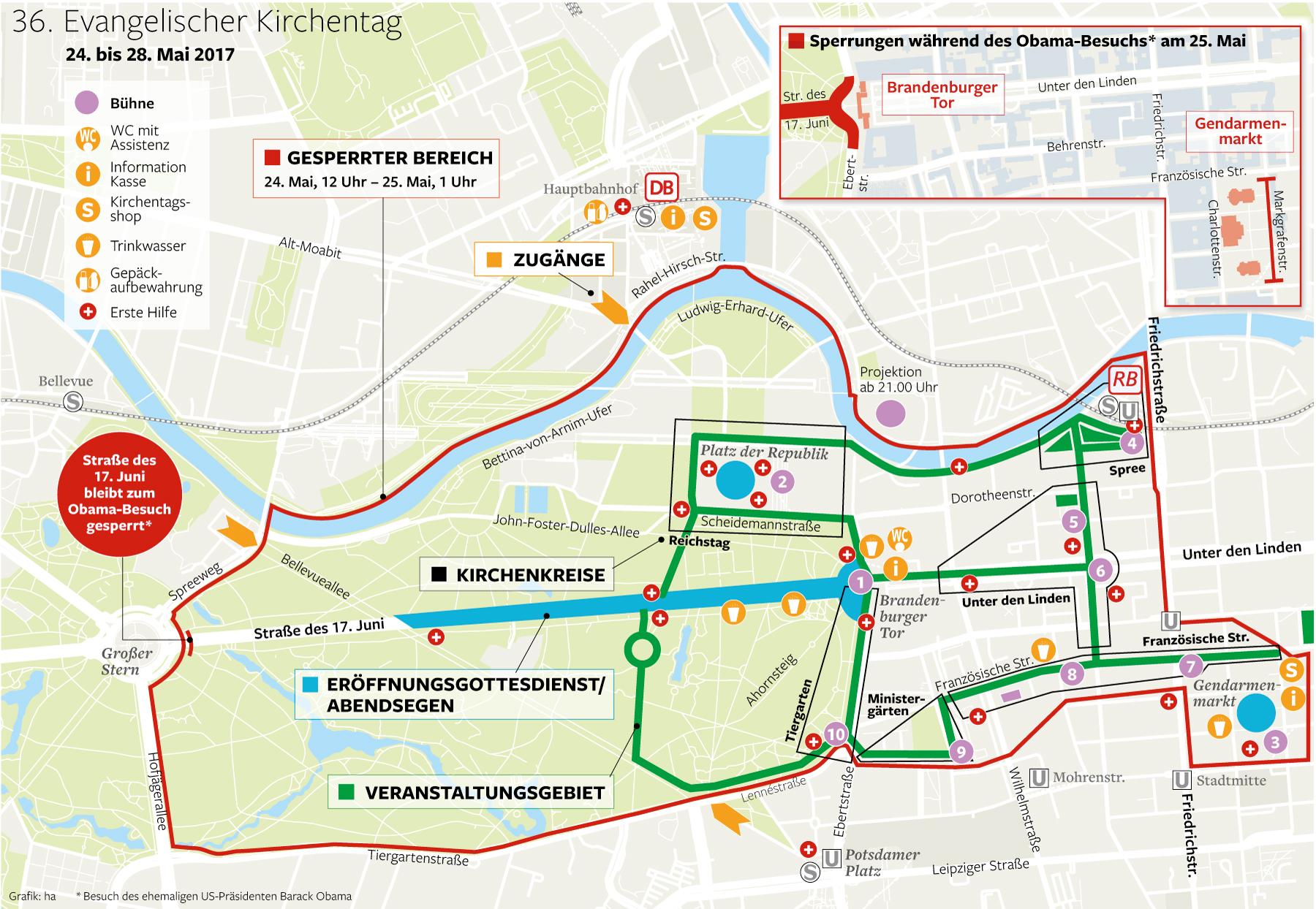 Programm Und Sperrungen Zum ObamaBesuch In Berlin Berliner - Berlin map 2017