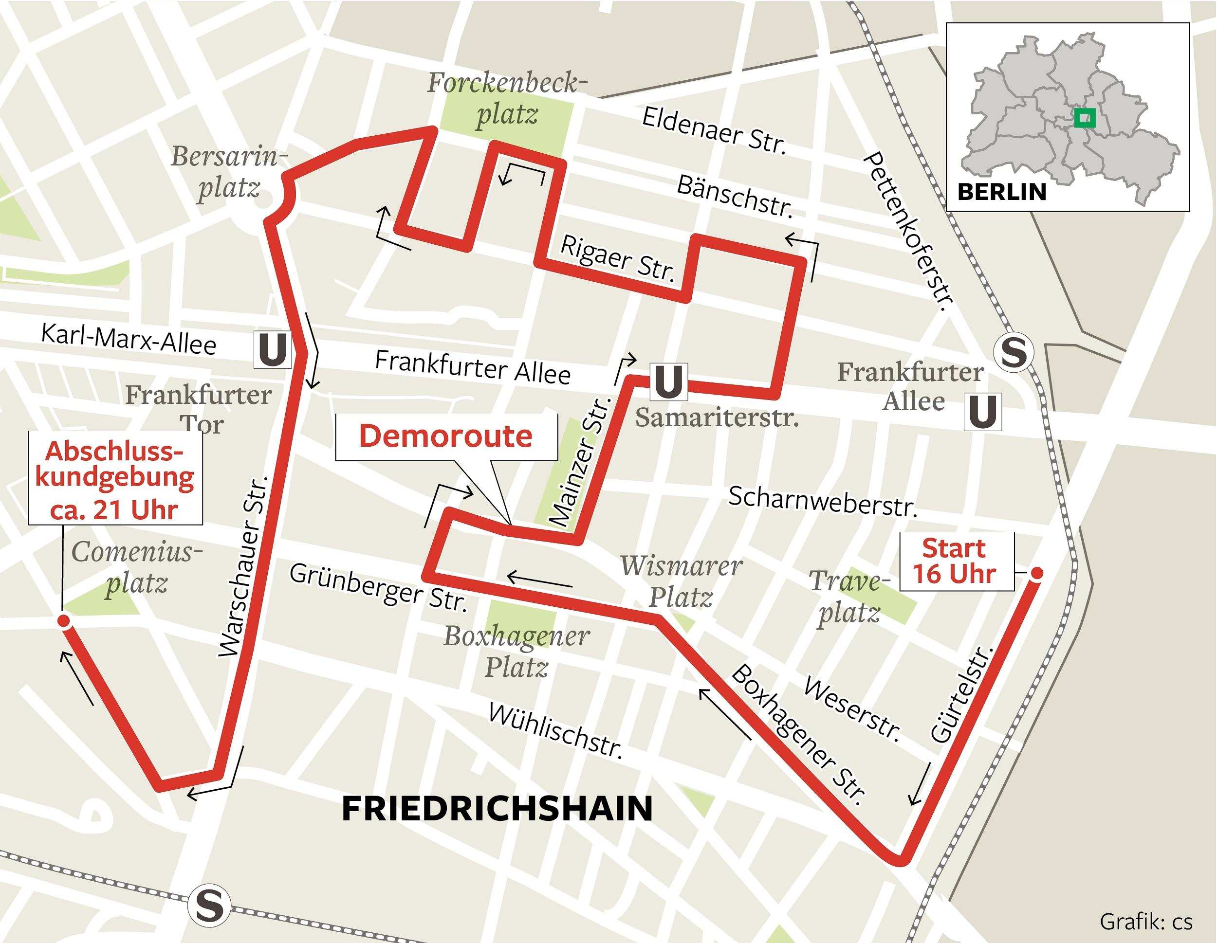 Demoroute durch Friedrichshain