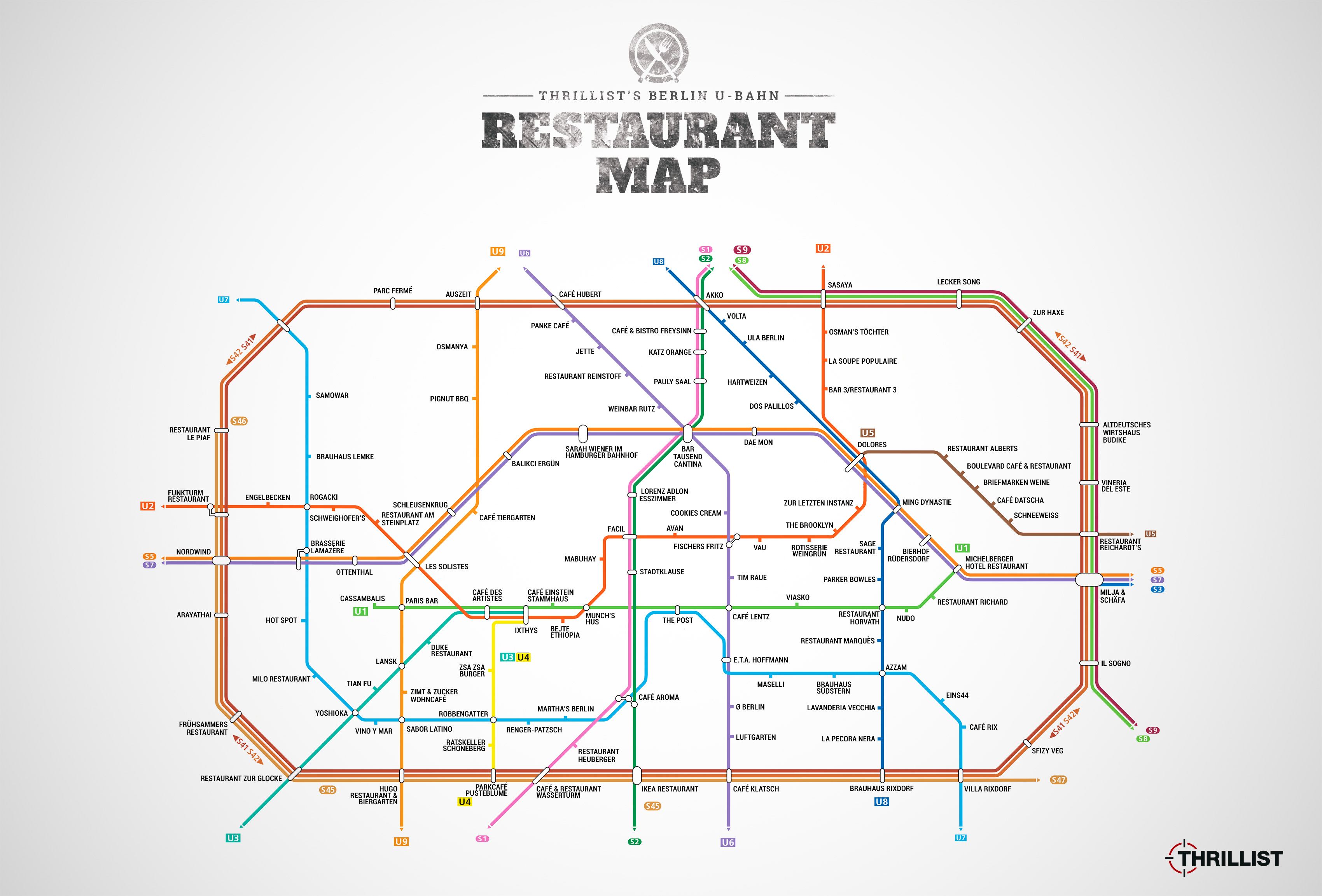 Restaurants In Berlin Die U Bahn Karte Fr Genieer Restaurant Schematic Map Vergrern
