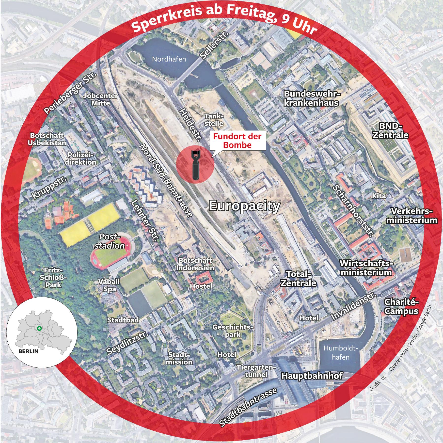 Fliegerbombe in Berlin Mitte droht Verkehrschaos wegen Sperrung