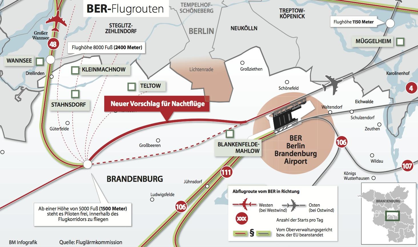 Karte Berlin Lichtenrade.Flugrouten Karte 940 Berlin Aktuell Berliner Morgenpost