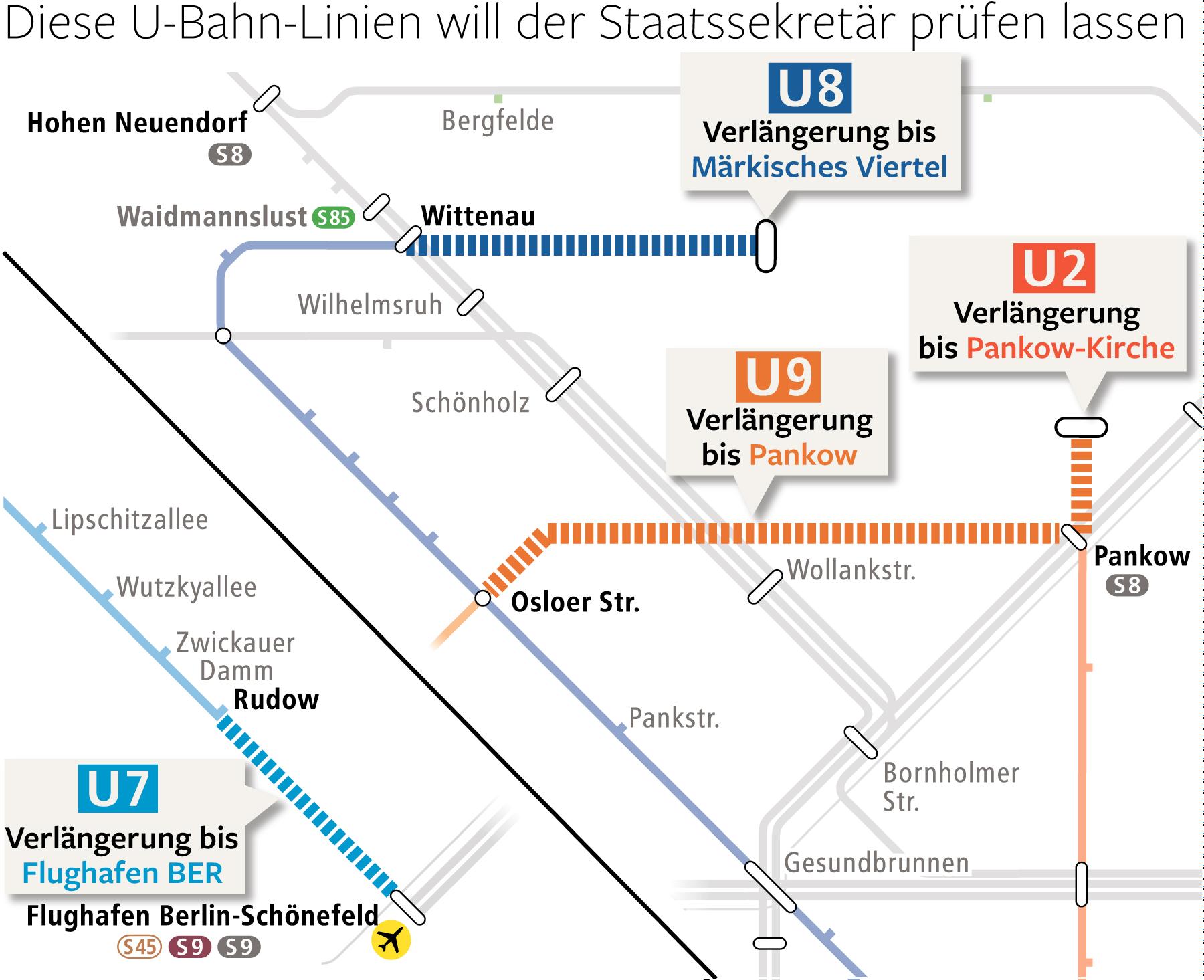 Mögliche neue U-Bahn-Linien