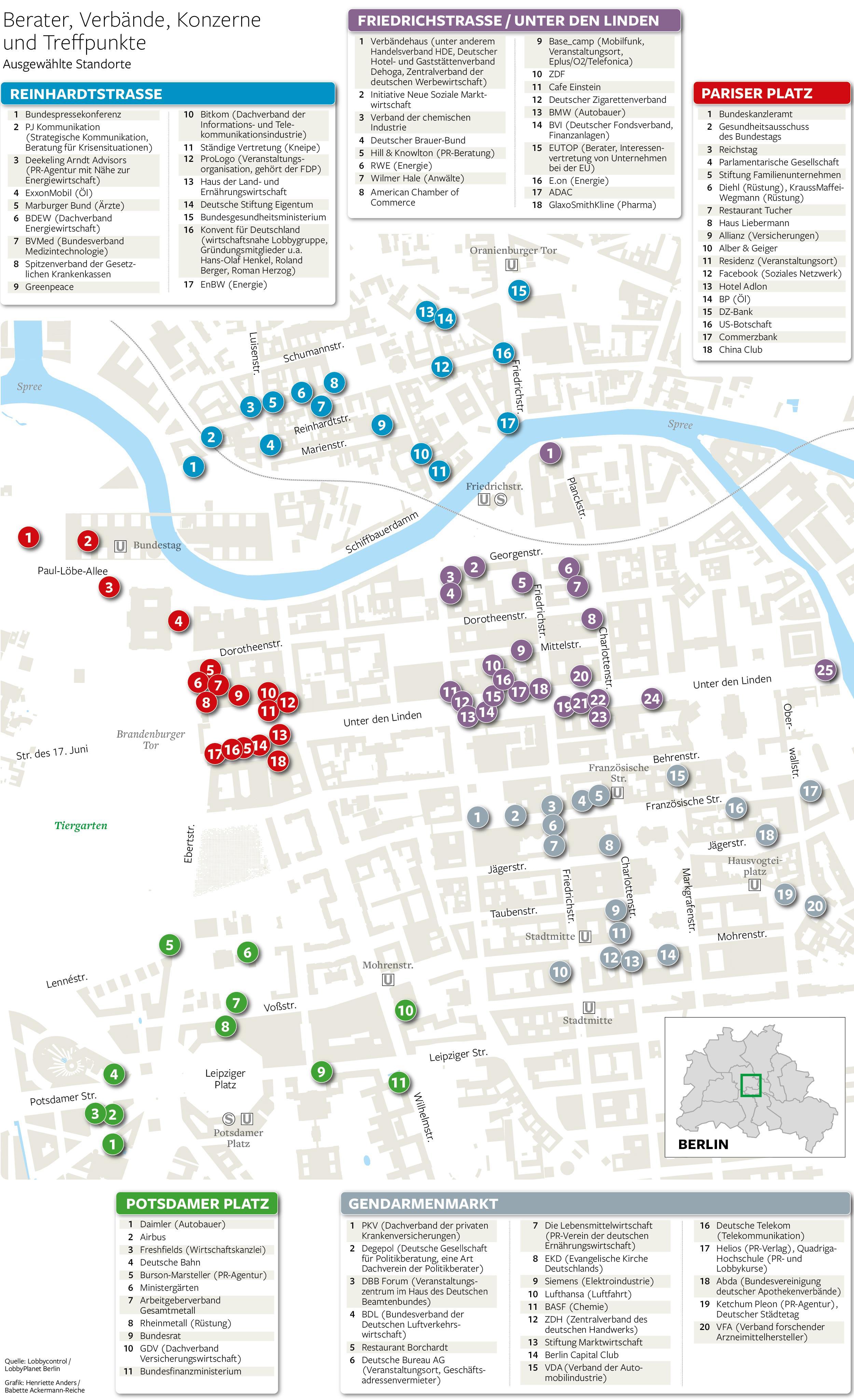 Standorte der Lobbyisten in Berlin
