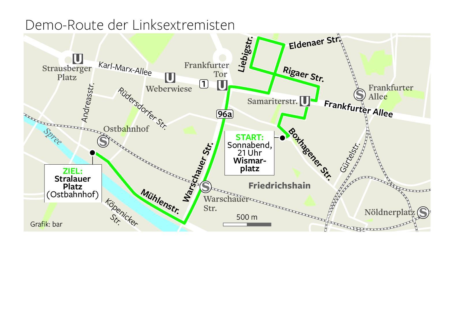 Demo-Route der Linksextremisten