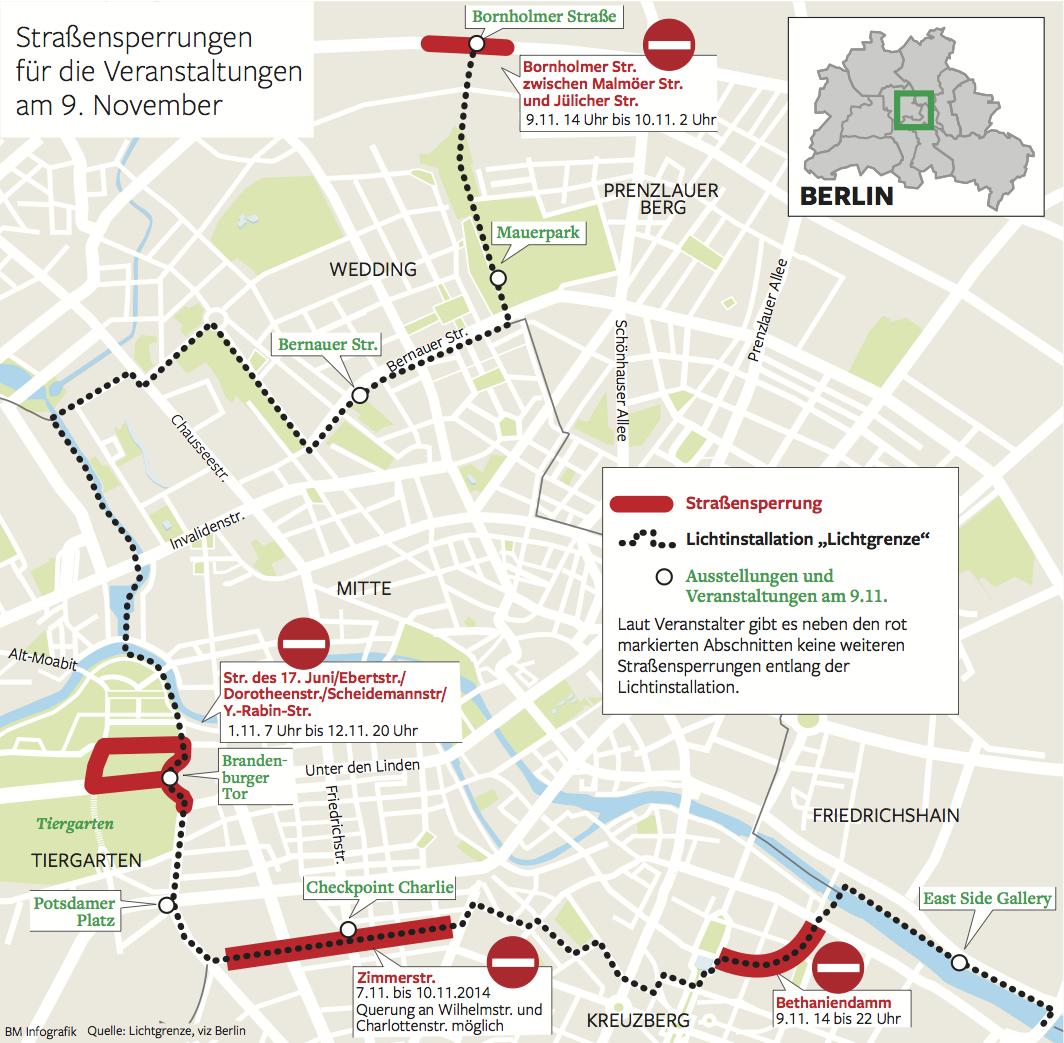 genug Diese Straßen sind beim Mauerfall Jubiläum gesperrt Berliner RB46