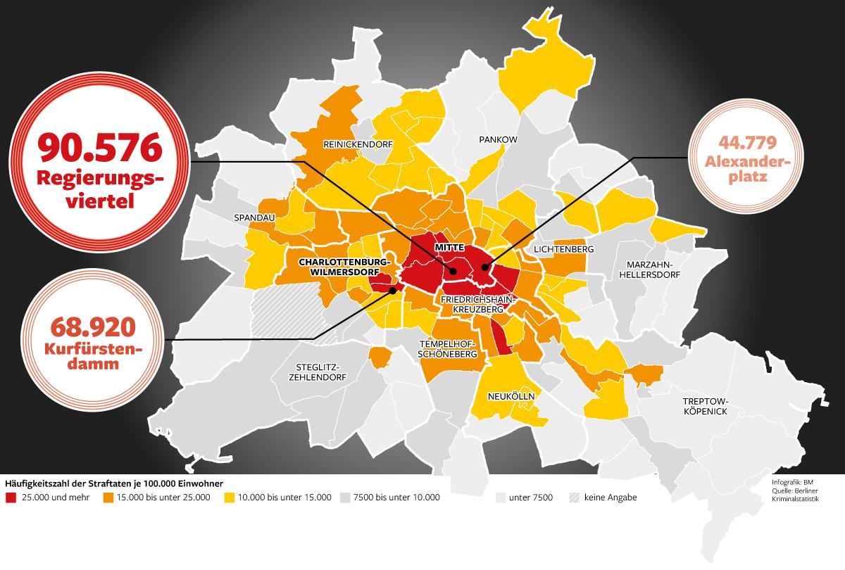 Für den Kriminalitätsatlas werden die Straftaten für 138 Berliner Gebiete,  den