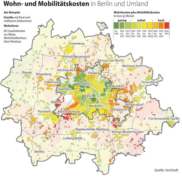 Die Wohn- und Mobilitätskosten in und um Berlin